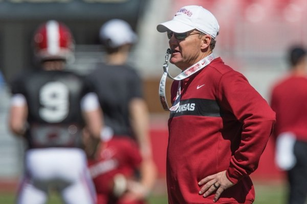 Chad Morris, Arkansas head coach, watches Saturday, March, 9, 2019, during spring practice at Razorback Stadium in Fayetteville.