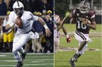 At left, in a Nov. 3, 2018, file photo, then-Penn State quarterback Tommy Stevens (2) runs against Michigan in the second half of an NCAA college football game in Ann Arbor, Mich. At right, in a Sept. 15, 2018, file photo, Mississippi State quarterback Keytaon Thompson (10) sprints to the end zone for a touchdown against Louisiana-Lafayette during the second half of their NCAA college football game in Starkville, Miss. The main story of Mississippi State's preseason camp isn't hard to find. It's a two-man quarterback competition between last year's backup Keytaon Thompson and Penn State transfer Tommy Stevens. The winner will be expected to improve the Bulldogs' passing offense, which was inconsistent on good days and downright awful on the bad ones last season. (AP Photos)