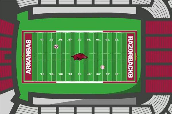 A digital rendering shows the 2019 field design for Donald W. Reynolds Razorback Stadium in Fayetteville.