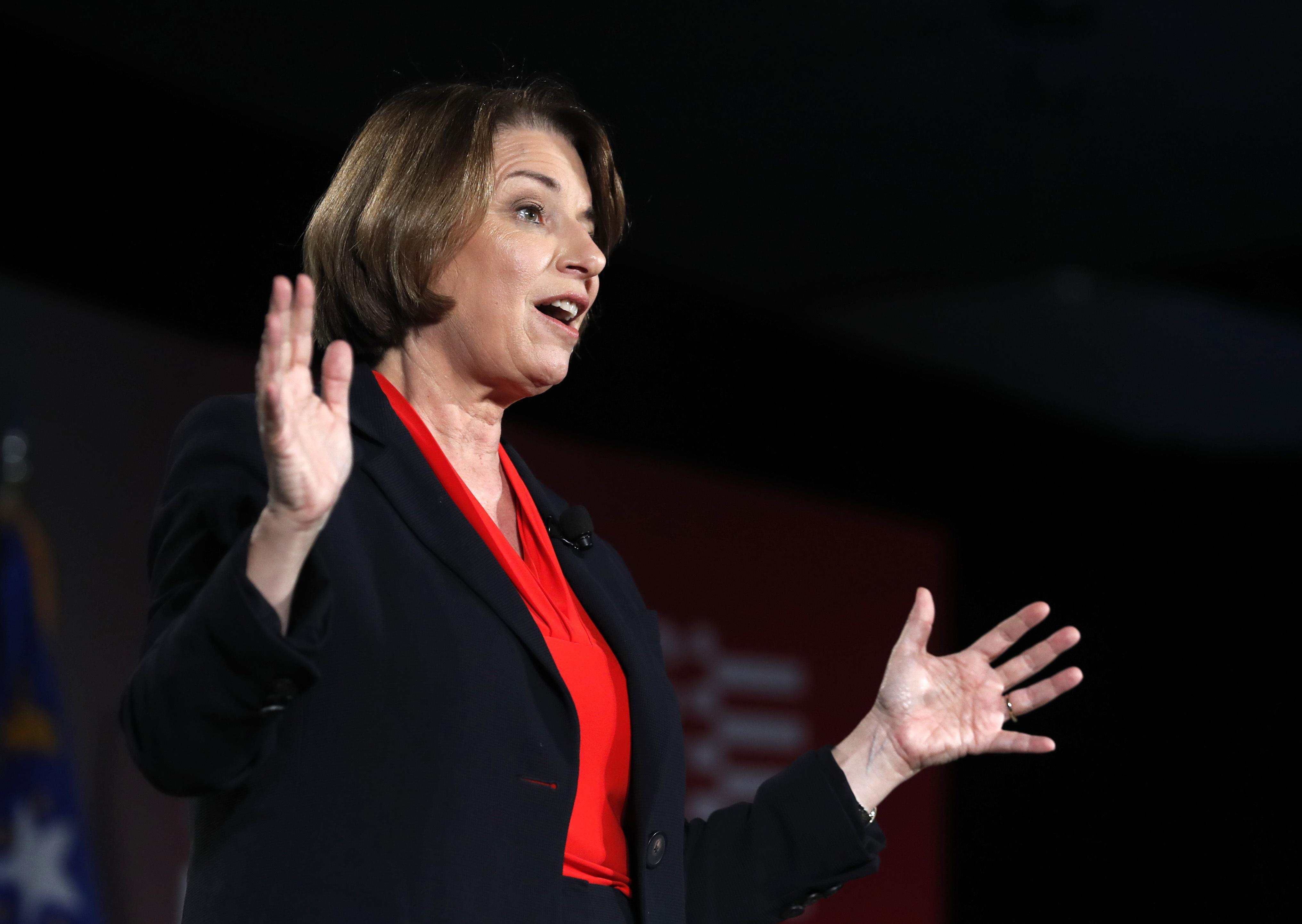 U.S. Sen. Amy Klobuchar speaks on gun violence in Little Rock