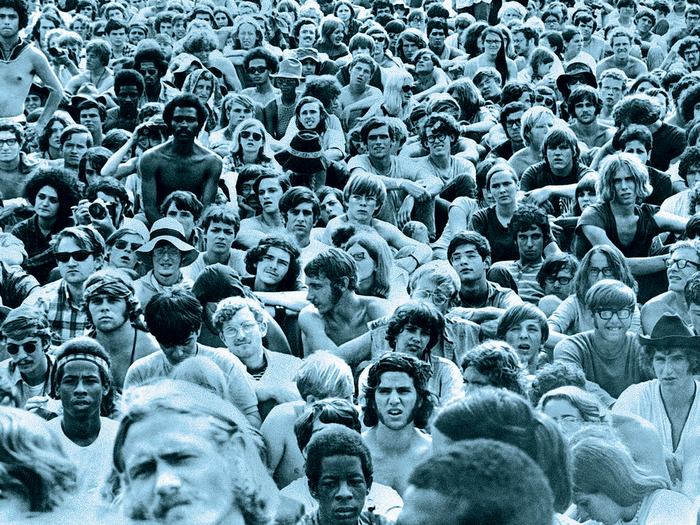 Thousands gathered for the Woodstock Music and Art Fair in 1969. (AP)
