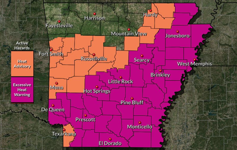 Excessive heat warning in effect for much of Arkansas