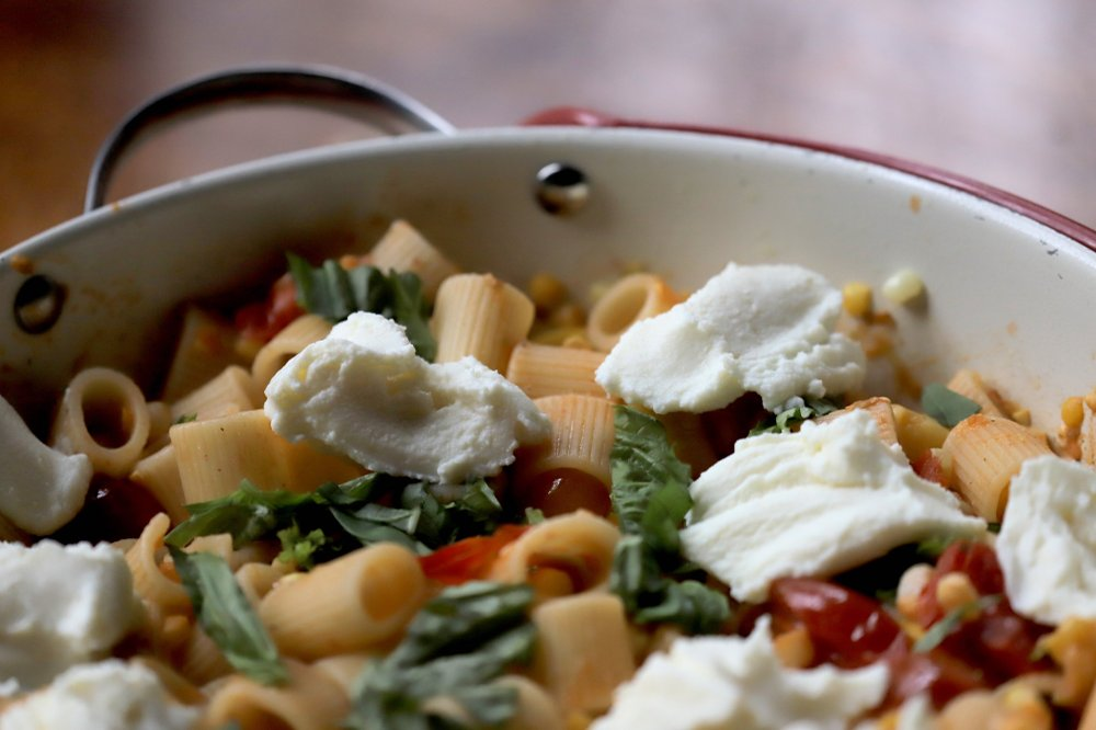 Pasta With Tomatoes, Corn, Squash and Ricotta Photo by John Sykes Jr.