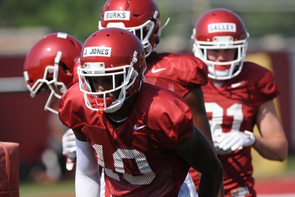 Arkansas receiver Jordan Jones lines up Tuesday, Aug. 6, 2019, during practice at the university practice field. Visit nwadg.com/photos to see more photographs from the practice.