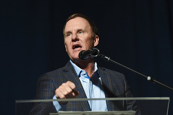 Arkansas coach Chad Morris speaks during the Razorbacks' annual football kickoff luncheon Friday, Aug. 16, 2019, in Rogers.