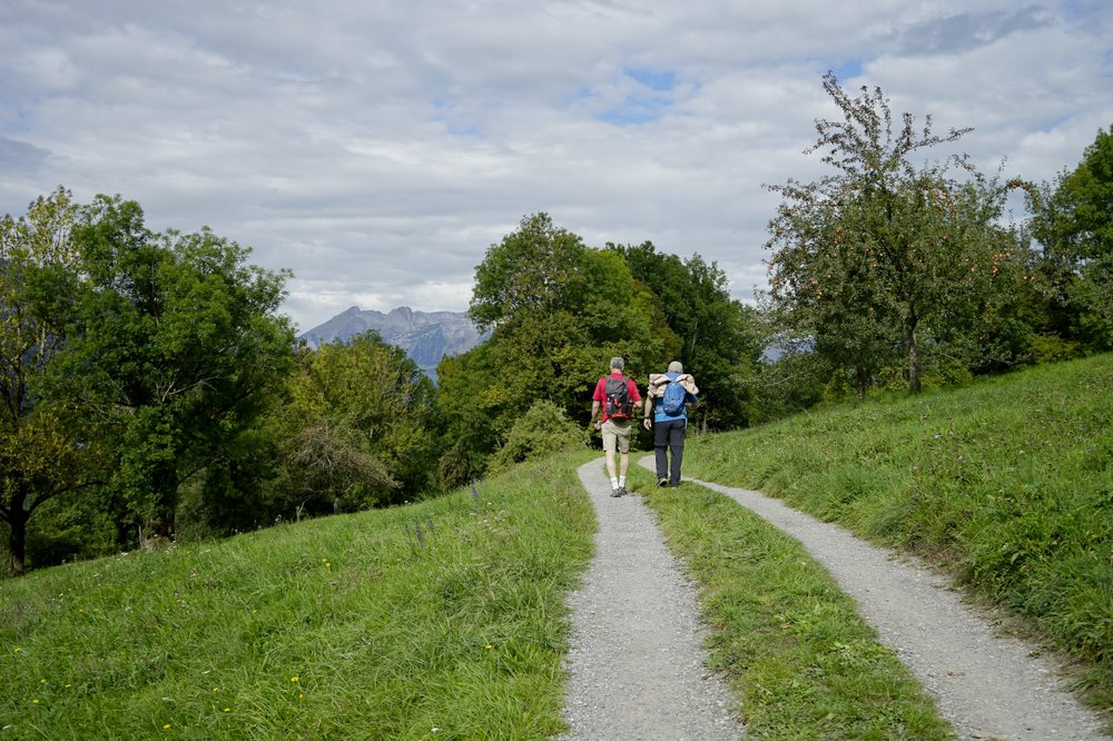 John Henderson, left, and Leander Schadler set off to walk the Liechtenstein Trail. Europe's fourth-smallest country has marked its 300th anniversary by joining all of its 11 towns via 46.6 miles of twisting, mountainous hiking trails. (Photo by Marina Pascucci via The New York Times)