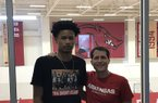 2021 guard Trey Alexander and Arkansas coach Eric Musselman.