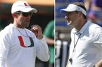 At left, in an Aug. 6, 2019, file photo, Miami head football coach Manny Diaz prepares to blow his whistle during an NCAA college football practice at the University of Miami in Coral Gables, Fla. At right, in an Oct. 6, 2018, file photo, Florida head coach Dan Mullen watches players warm up before an NCAA college football game against LSU in Gainesville, Fla. Florida and Miami have the college football stage to themselves for 3 ½ hours Saturday, a new chapter in their once-heated and forever-storied rivalry.(AP Photo/File)