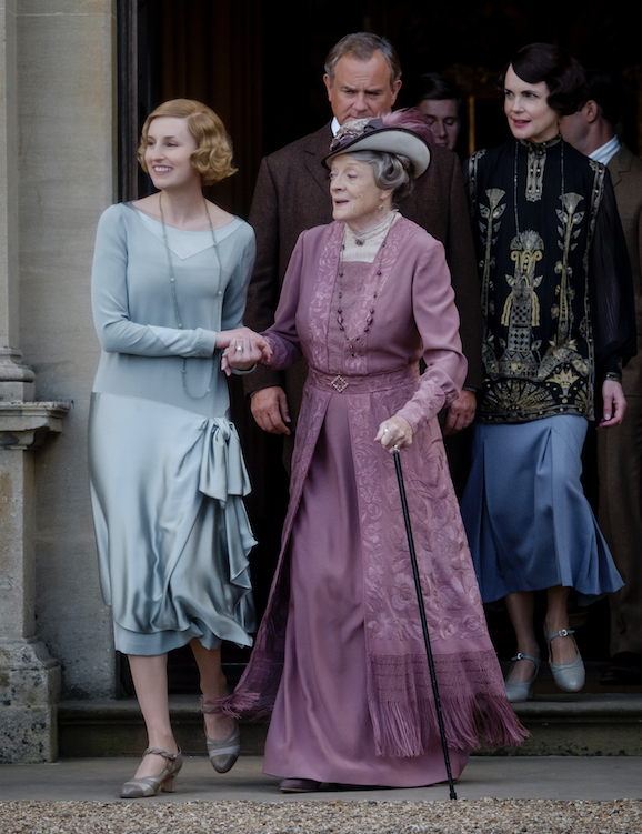 """Laura Carmichael stars as Lady Hexham, Maggie Smith as The Dowager Countess of Grantham, Hugh Bonneville as Lord Grantham, Allen Leech as Tom Branson and Elizabeth McGovern as Lady Grantham in """"Downton Abbey."""" (Focus Features)"""