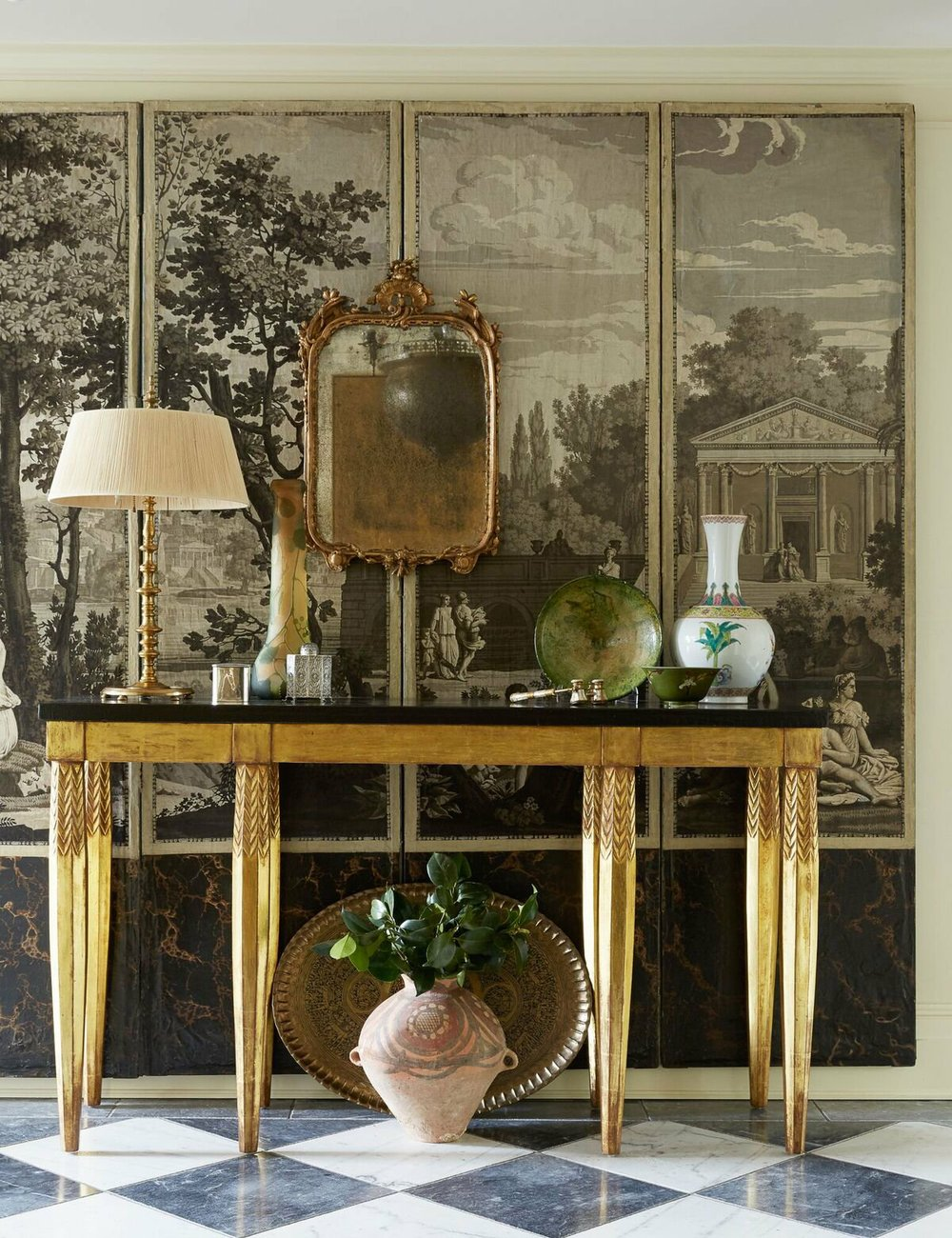 A room designed by Mona Hajj using a decorative screen. (Photo by William Abranowicz)