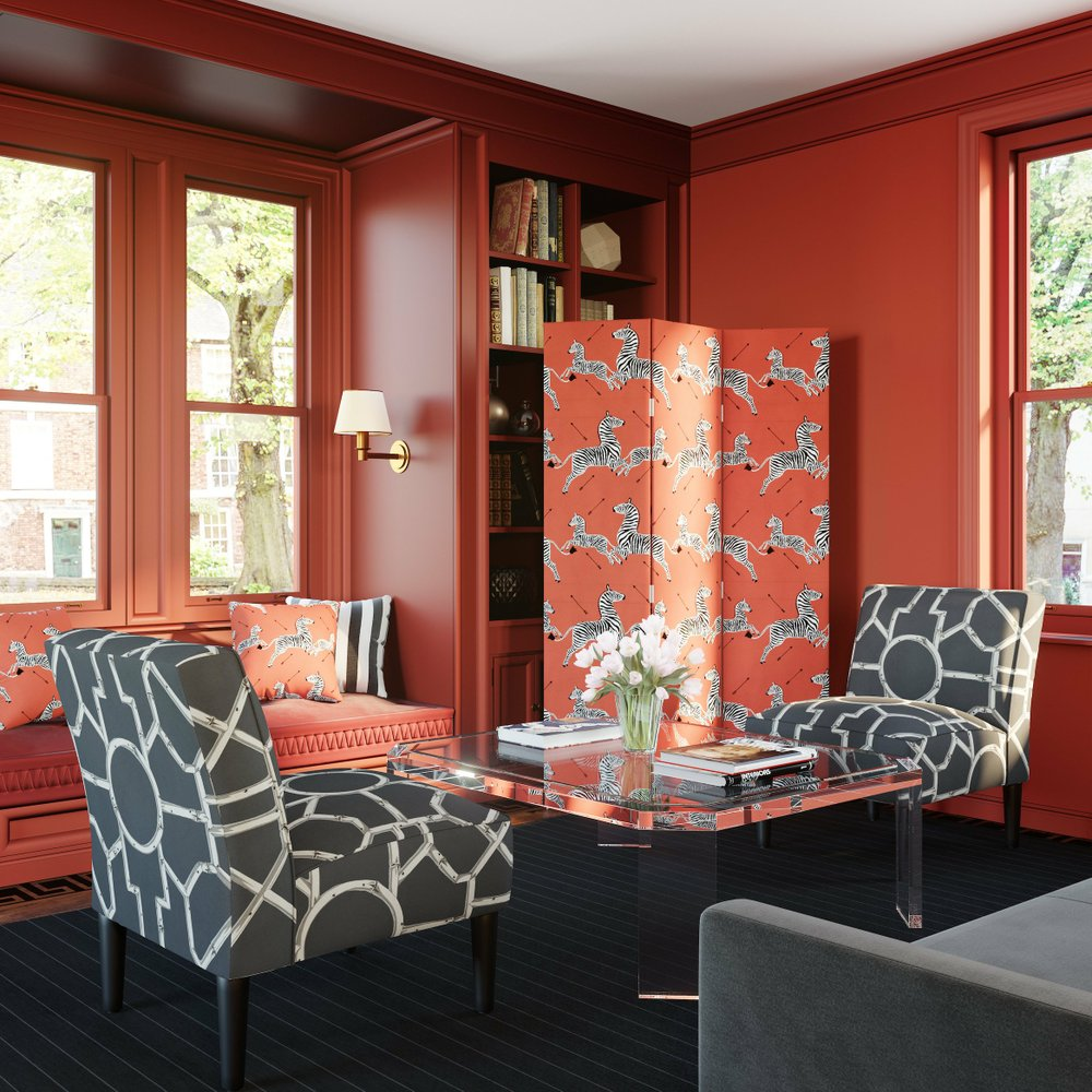 The Inside's Scalamandre modern screen in the Coral Zebra pattern, $399. (Photo courtesy The Inside)