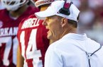 Arkansas coach Chad Morris talks to players during a game against Portland State on Saturday, Aug. 31, 2019, in Fayetteville.