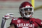 Arkansas safety Kamren Curl celebrates after intercepting a pass during a game against Portland State on Saturday, Aug. 31, 2019, in Fayetteville.