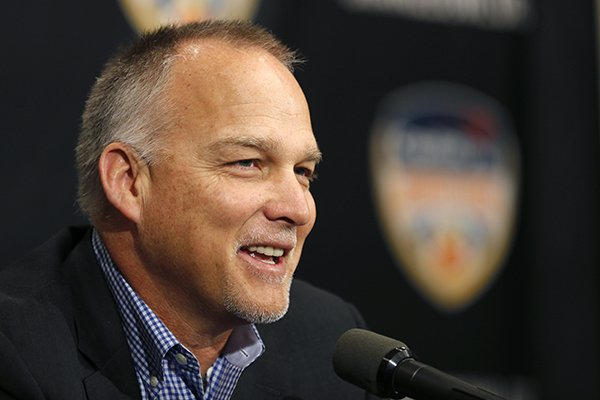 In this Dec. 29, 2017, file photo, Miami head coach Mark Richt speaks at an NCAA college football news conference in Fort Lauderdale, Fla. (AP Photo/Joe Skipper, File)