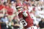 Arkansas tight end Grayson Gunter gets ready to run a play against Portland State during a game, Saturday, Aug. 31, 2019 in Fayetteville. (AP Photo/Michael Woods)