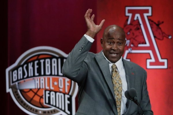 Inductee Sidney Moncrief speaks at the Basketball Hall of Fame enshrinement ceremony Friday, Sept. 6, 2019, in Springfield, Mass. (AP Photo/Elise Amendola)