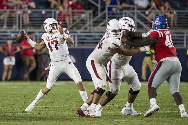 Arkansas quarterback Nick Starkel (17) throws a pass during a game against Ole Miss on Saturday, Sept. 7, 2019, in Oxford, Miss.