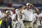 Arkansas coach Chad Morris is shown during a game against Ole Miss on Saturday, Sept. 7, 2019, in Oxford, Miss.