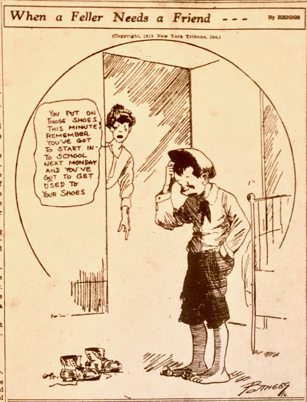 "This installment of ""When a Feller Needs a Friend,"" a syndicated cartoon, appeared in the Arkansas Democrat on Sept. 2, 1919. (Arkansas Democrat-Gazette)"