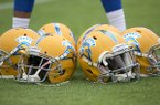 San Jose State helmets sit on the football field before an NCAA college football game against Auburn, Saturday, Oct. 3, 2015, in Auburn, Ala. (AP Photo/Brynn Anderson)