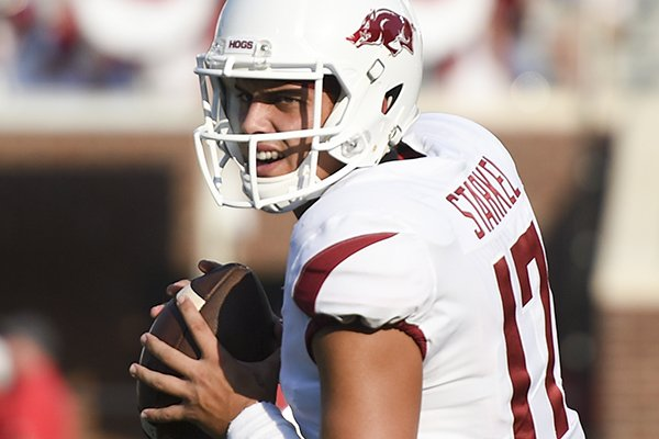 Arkansas quarterback Nick Starkel goes through warmups prior to a game against Ole Miss on Saturday, Sept. 7, 2019, in Oxford, Miss.