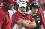 Arkansas defensive coordinator John Chavis is shown during a game against Ole Miss on Saturday, Sept. 7, 2019, in Oxford, Miss.