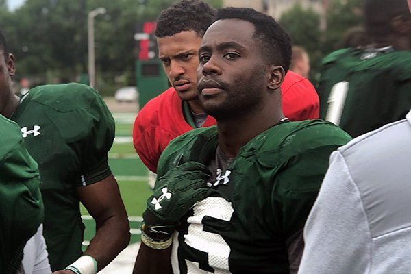 Colorado State safety Josh Griffin is shown during an offseason practice in Fort Collins, Colo.