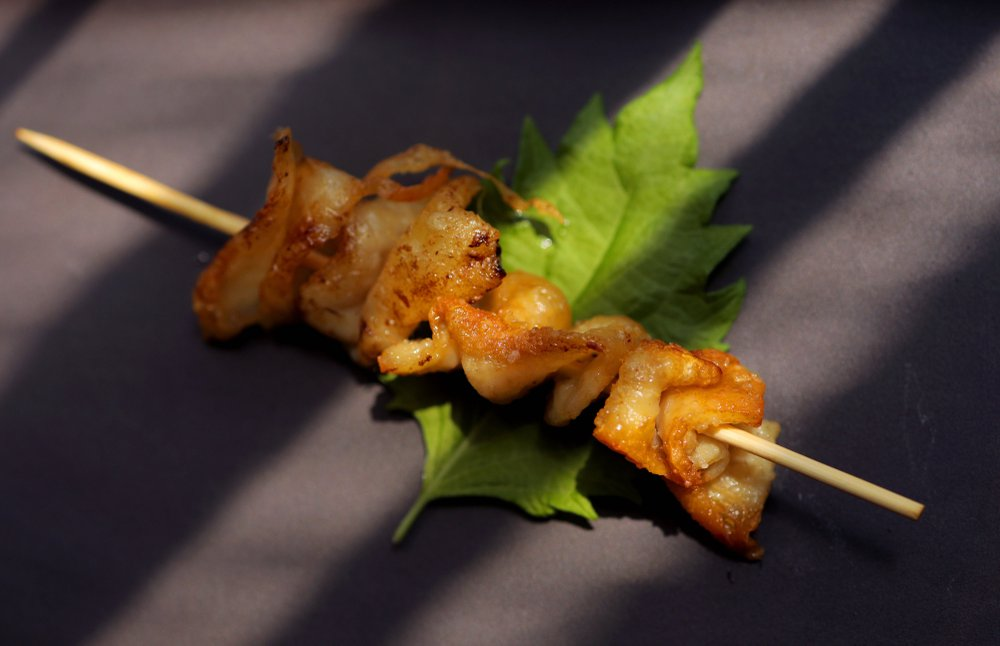 Yakitori (or chicken on a skewer), torikawa style. Torikawa is chicken skin. (Christian Gooden/St. Louis Post-Dispatch/TNS)