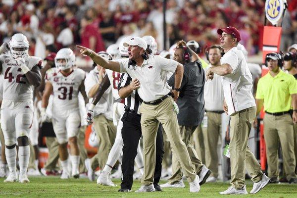 Arkansas Razorbacks head coach Chad Morris reacts during the third quarter of a football game, Saturday, September 7, 2019 at Vaught-Hemingway Stadium in Oxford, Miss.