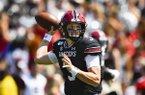South Carolina quarterback Ryan Hilinski drops back to pass during an NCAA college football game against Charleston Southern,Saturday, Sept. 7, 2019, in Columbia, S.C. South Carolina won 72-10. (AP Photo/John Amis)