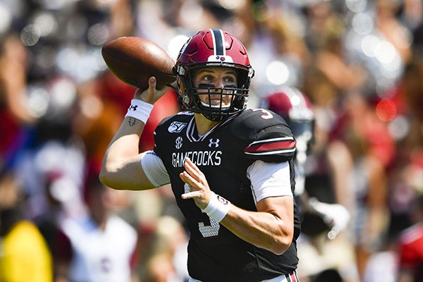 South Carolina quarterback Ryan Hilinski drops back to pass during an NCAA college football game against Charleston Southern,Saturday, Sept. 7, 2019, in Columbia, S.C. South Carolina won 72-10. (AP Photo/John Amis)