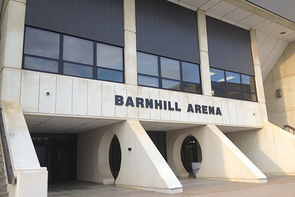 The south entrance of Barnhill Arena is shown on Thursday, Oct. 9, 2014, in Fayetteville.