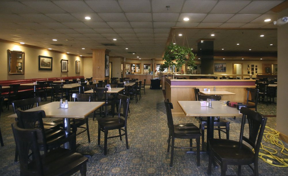 Chairs and tables were empty at Franke's Cafeteria during lunch in the Regions Bank building in downtown Little Rock Sept. 5, shortly after word surfaced of the cafeteria's closure. Arkansas Democrat-Gazette/Thomas Metthe