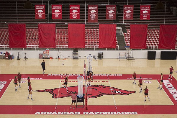 Barnhill Arena is shown during a volleyball practice on Monday, Aug. 24, 2015, in Fayetteville. The arena was once home to the Razorbacks' basketball programs but has since been repurposed into an 8,500-seat venue for volleyball and gymnastics.