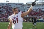 Arkansas offensive lineman Ricky Stromberg waves to the crowd prior to a game against Ole Miss on Saturday, Sept. 7, 2019, in Oxford, Miss.