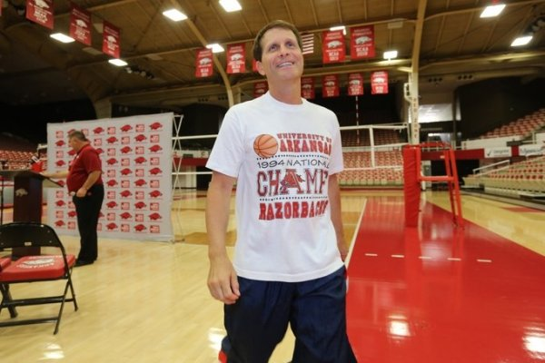 Arkansas men's basketball coach Eric Musselman exits a news conference on the floor at Barnhill Arena in Fayetteville on Thursday. On Wednesday, the program announced it would play its annual preseason Red-White scrimmage in Barnhill Arena on Oct. 5 and 3 p.m.