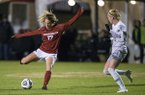 Stefani Doyle (17) of Arkansas kicks the ball in the first half vs Arkansas-Little Rock on Friday, Nov. 9, 2018, during the first round of the NCAA Tournament at Razorback Field in Fayetteville.
