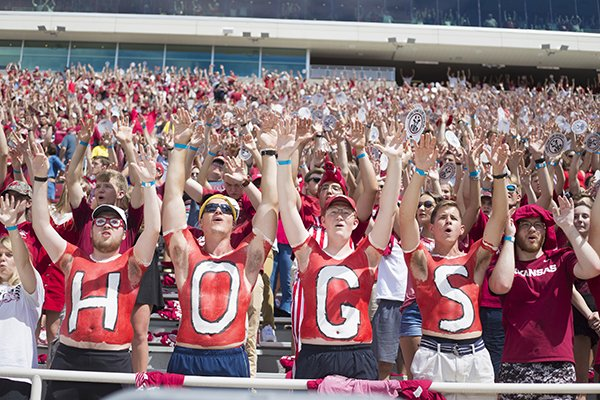 Arkansas fans are shown during a game against Portland State on Saturday, Aug. 31, 2019, in Fayetteville.