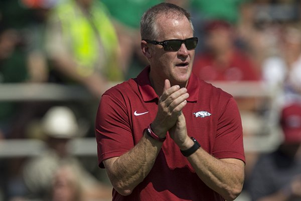 Arkansas athletics director Hunter Yurachek is shown during a football game between the Razorbacks and Colorado State on Saturday, Sept. 14, 2019, in Fayetteville.
