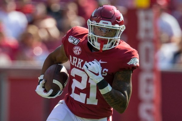 Devwah Whaley, Arkansas running back, finds open field for a 25 yard gain in the first quarter vs Colorado State Saturday, Sept. 14, 2019, at Reynolds Razorback Stadium in Fayetteville.