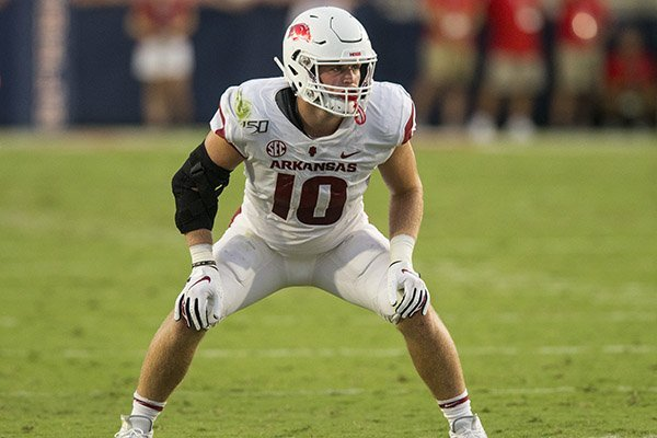 Arkansas linebacker Bumper Pool is shown during a game against Ole Miss on Sept. 7, 2019, in Oxford, Miss.