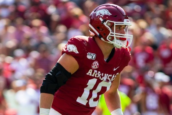 Arkansas linebacker Bumper Pool is shown during a game against Colorado State on Saturday, Sept. 14, 2019, in Fayetteville.
