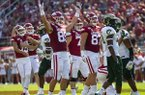 Arkansas players celebrate as Connor Limpert (back left) kicks a 54-yard field goal during a game against Colorado State on Saturday, Sept. 14, 2019, in Fayetteville.