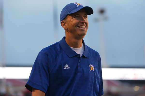 San Jose State coach Brent Brennan is shown prior to a game against Utah on Saturday, Sept. 16, 2017, in Salt Lake City.