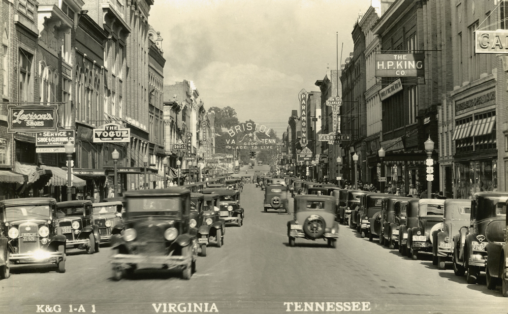 "Downtown Bristol, Va., in 1927 — it and Bristol, Tenn., are where many consider the ""big bang"" of country music took place. (Bristol Historical Association)"