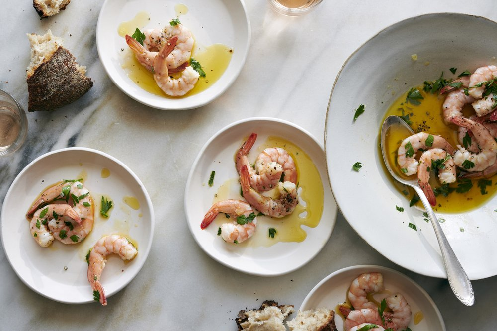 Shrimp Bathed in Olive Oil and Lemon Photo by David Malosh (The New York Times)
