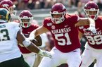 Arkansas offensive lineman Ricky Stromberg (51) is shown during a game against Colorado State on Saturday, Sept. 14, 2019, in Fayetteville.