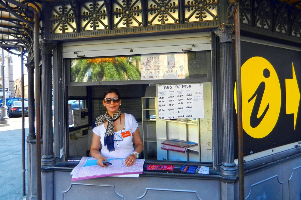 Smart cruisers stop at the local tourist information booth, like this one in Livorno, to get unbiased information for do-it-yourself time in port. (Photo by Rick Steves via Rick Steves' Europe)