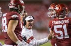 Chad Morris, Arkansas head coach, talks to players in the second quarter vs San Jose State Saturday, Sept. 21, 2019, at Reynolds Razorback Stadium in Fayetteville.