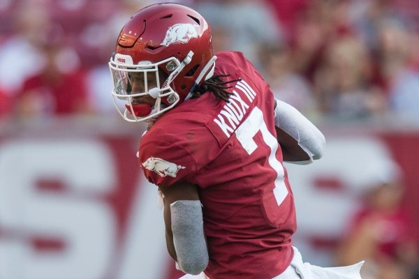 Arkansas receiver Trey Knox catches a pass during a game against Colorado State on Saturday, Sept. 14, 2019, in Fayetteville.